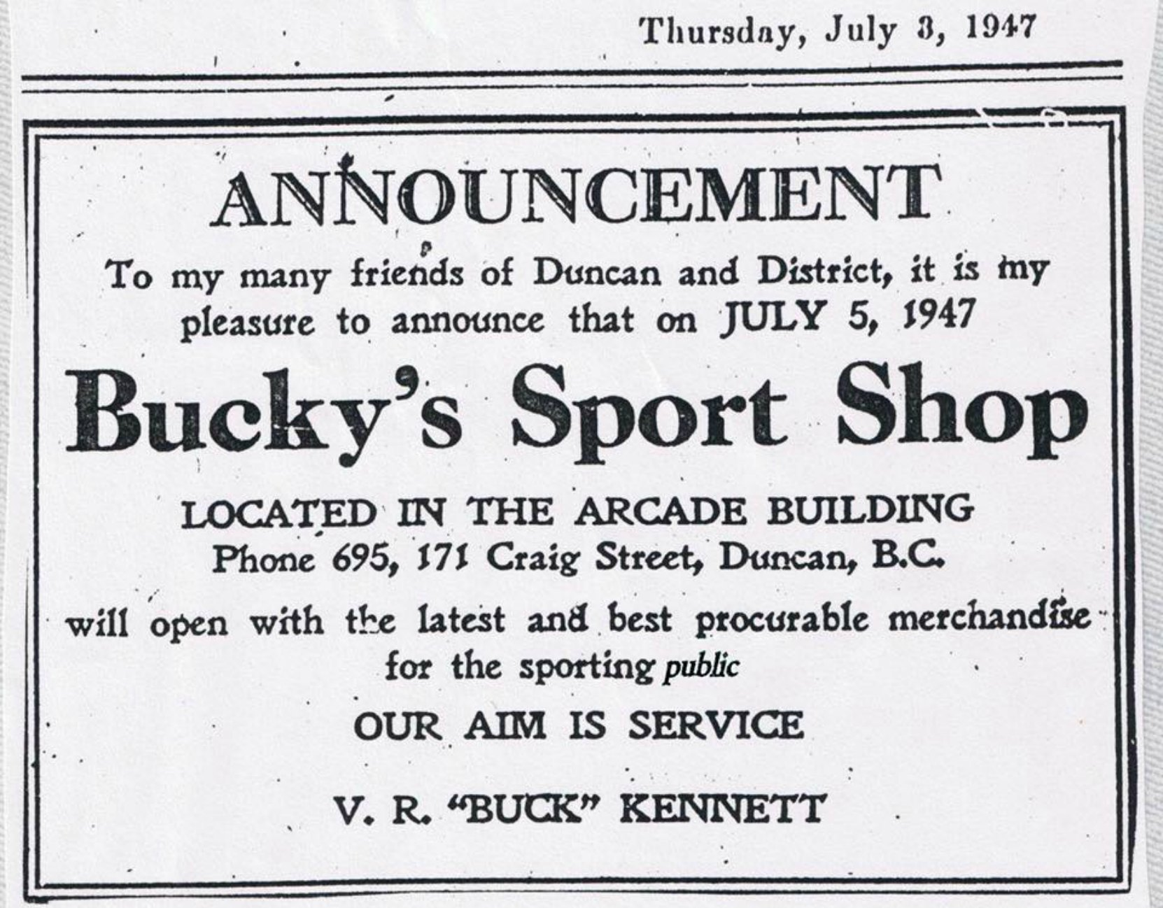 1947 advertisement in the Cowichan Leader the opening of Bucky's Sport Shop. (Duncan Sightseeing collection)