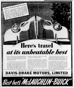 1939 advertisement for McLaughlin-Buick and Davis-Drake Motors, which was located at the corner of Kenneth Street and Government Street. (Duncan Sightseeing collection)
