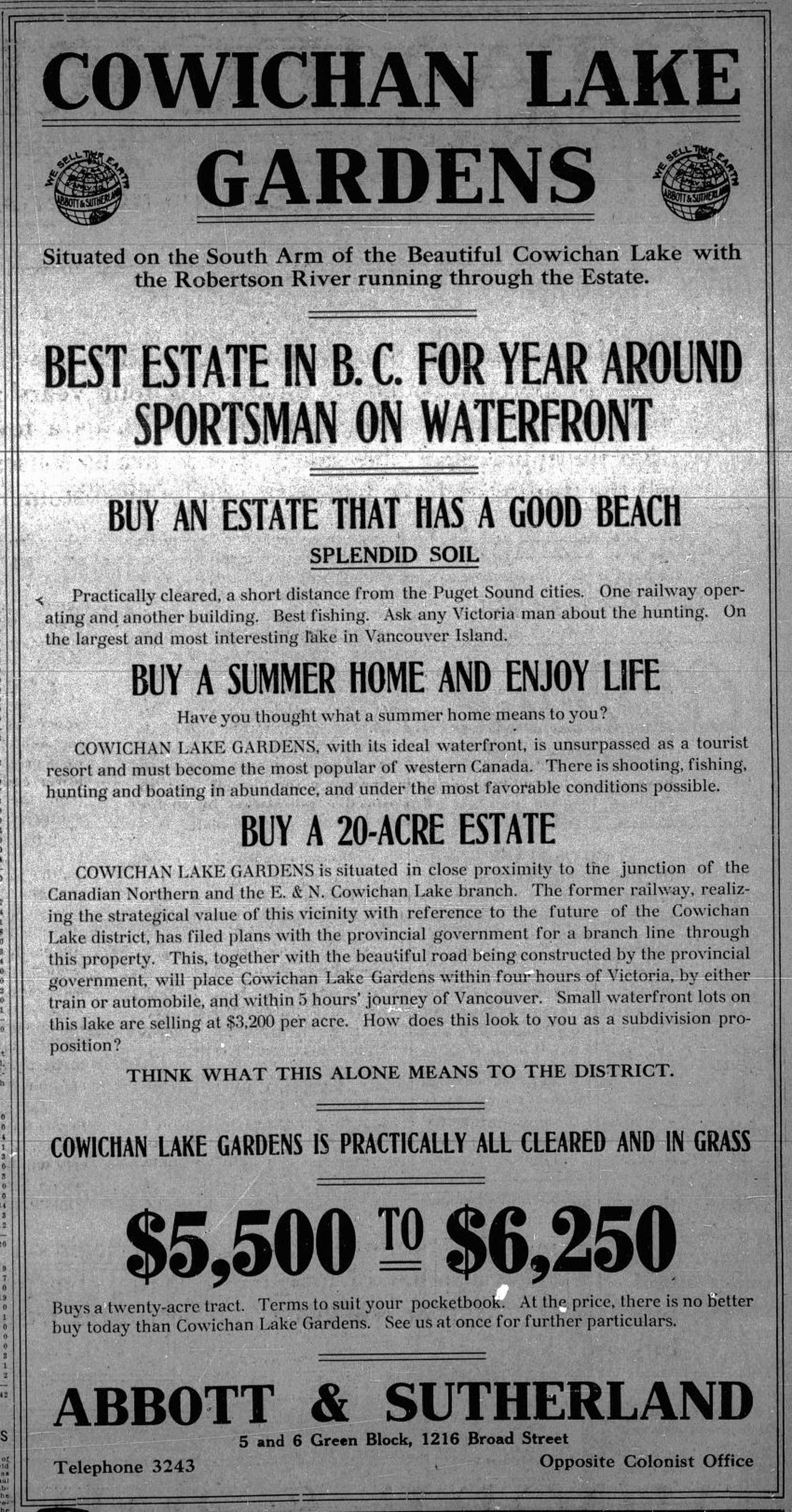 1912 advertisement for the Cowichan Lake Gardens subdivision in Lake Cowichan (Duncan Sightseeing collection)