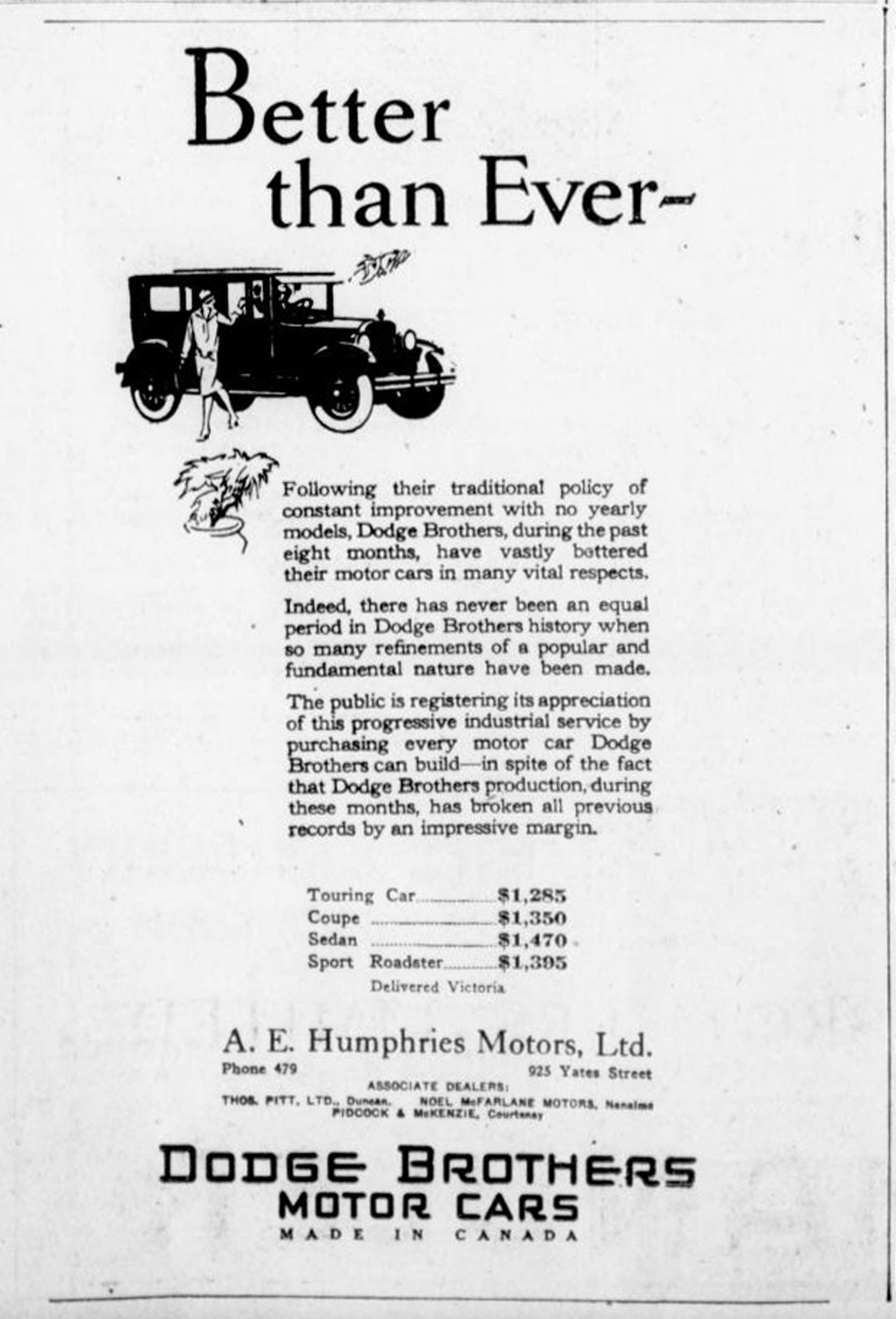 1926 advertisement for Dodge Brother Motor Cars and the Dodge dealer in Duncan, Thomas Pitt (Duncan Sightseeing collection),