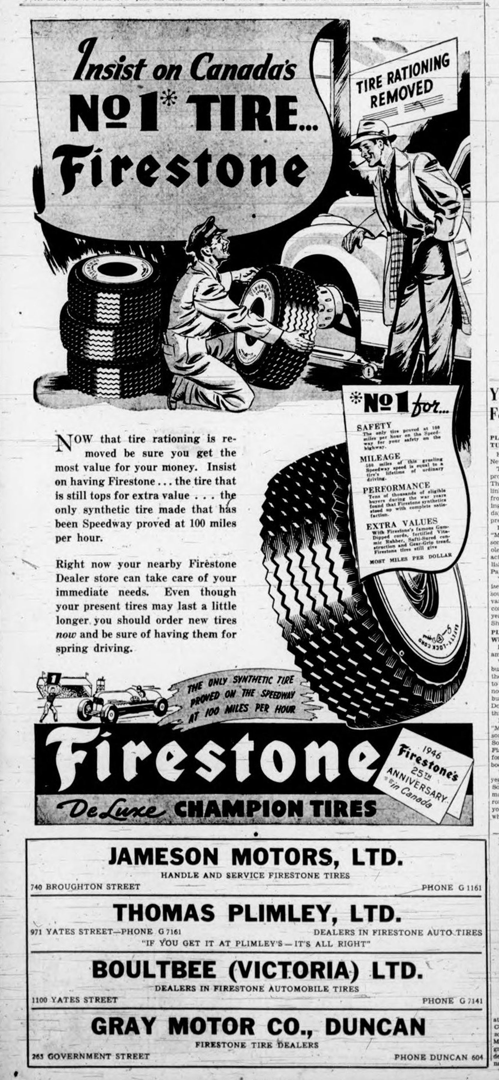 1946 advertisement for Firestone Tires and Gray Motor Company, which was located at the corner of Kenneth Street and Government Street (Duncan Sightseeing collection)