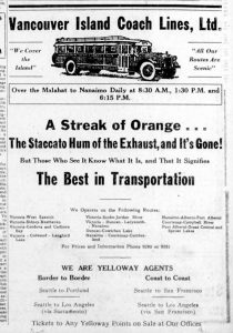 1930 advertisement for Vancouver Island Coach Lines showing the Duncan bus schedules. (Duncan Sightseeing collection)