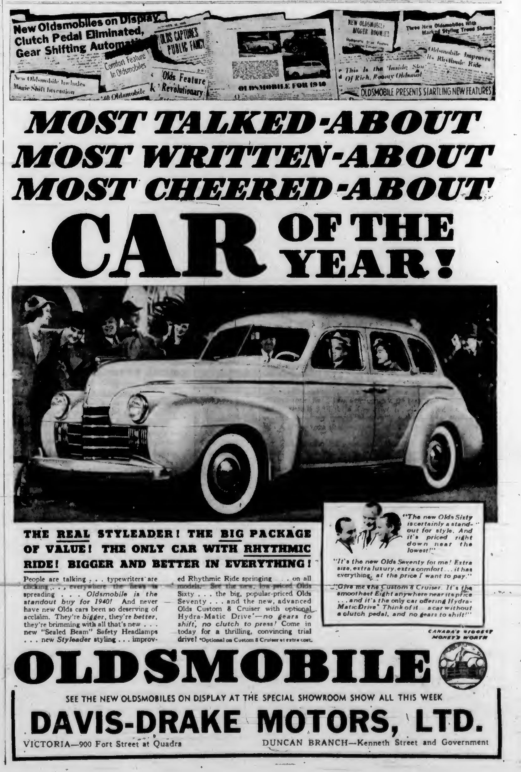 1940 advertisement for Oldsmobile, from davis=Drake Motors Ltd., Government Street at Kenneth Street (Duncan Sightseeing collection)