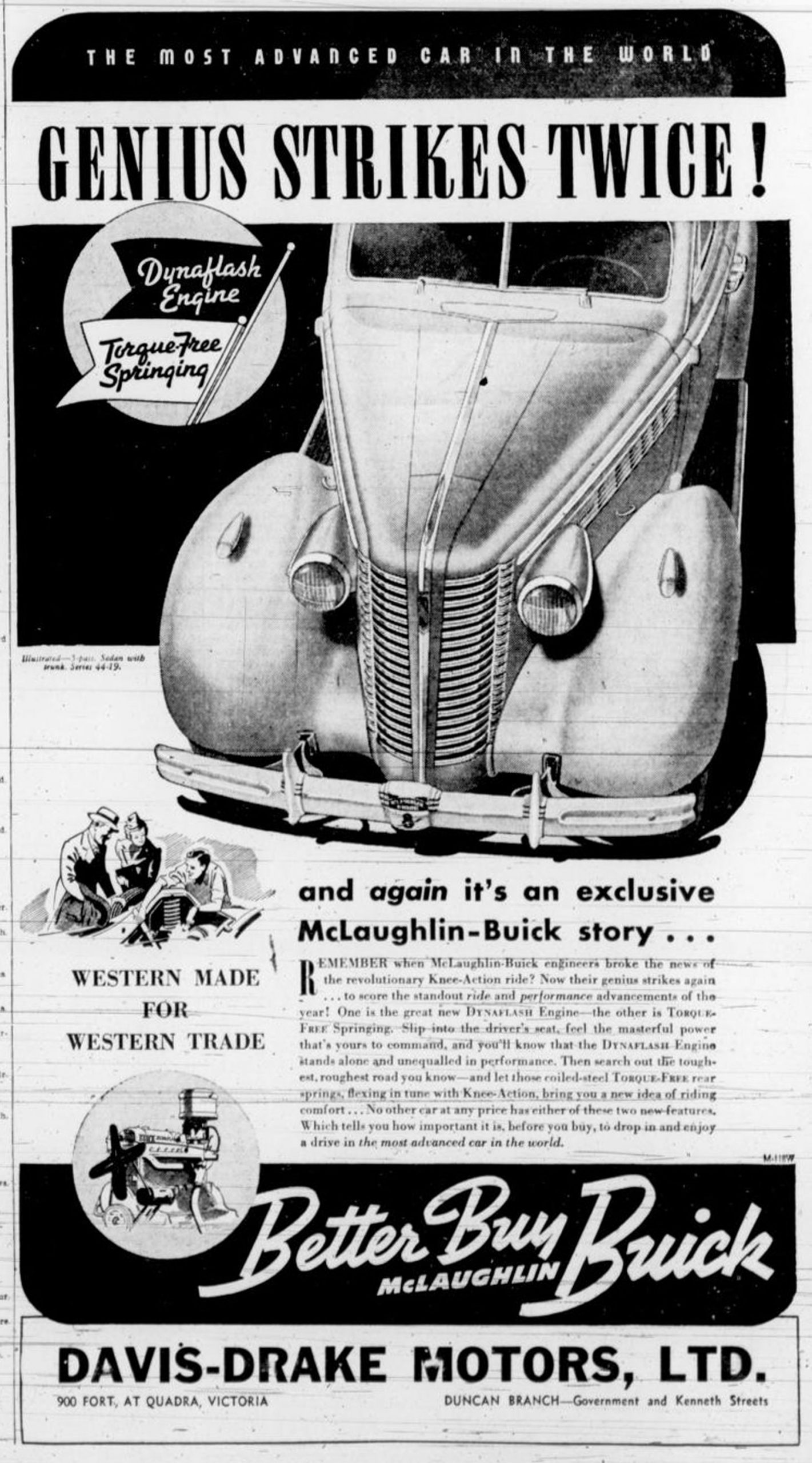 1938 advertisement for McLaughlin-Buick, from Davis-Drake Motors Ltd., Government Street at Kenneth Street in downtown Duncan.