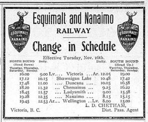 1909 schedule for passenger service on the the Esquimalt & Nanaimo Railway.