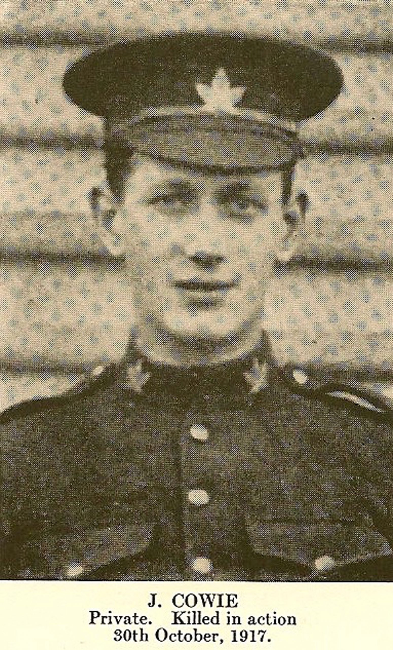 Private John Cowie, who killed in action 30 October 1917 (photo courtesy of John Cowie)