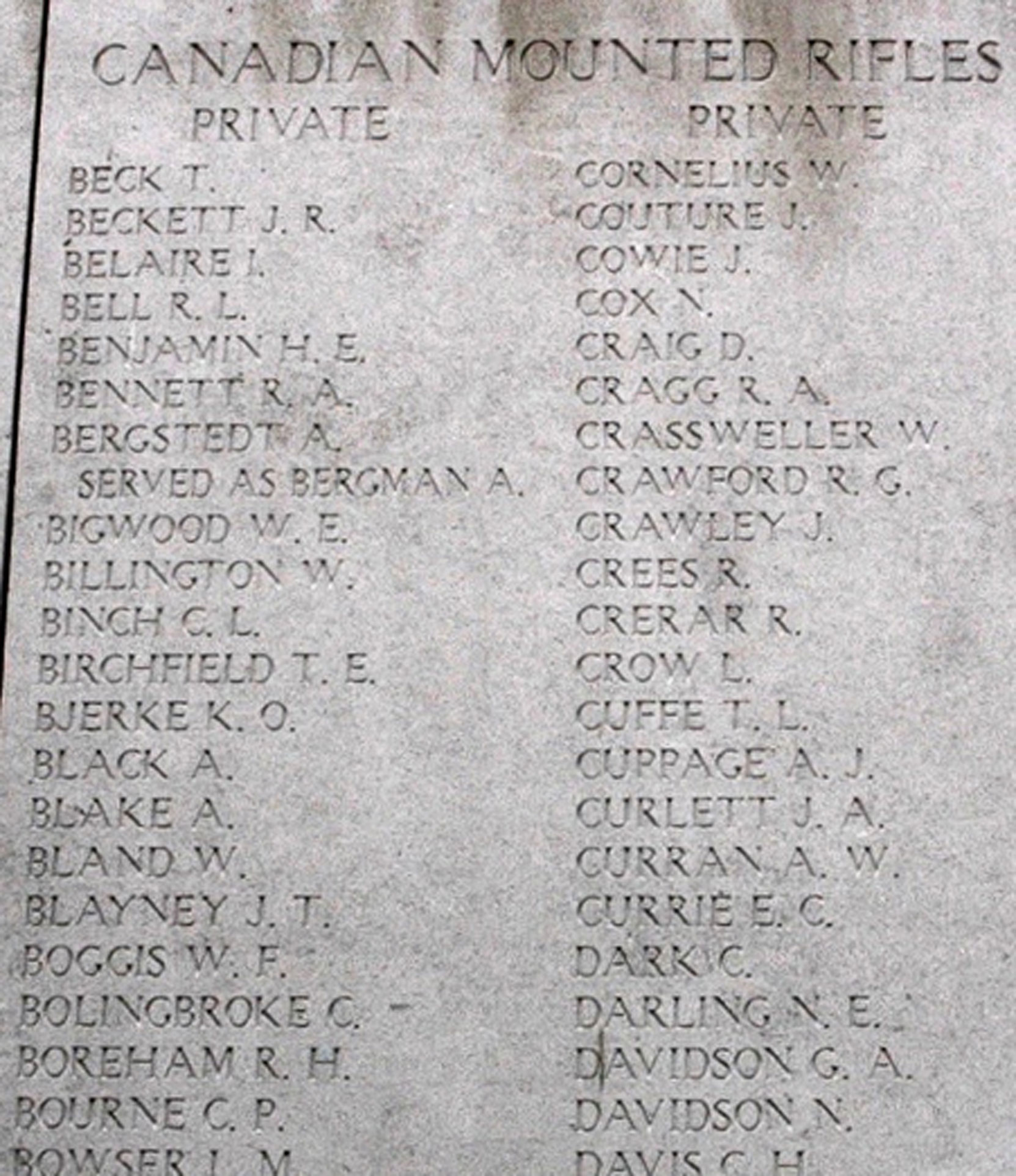 Detail from the Menin Gate, Ypres, Belgium, showing Cowie, J. (photo courtesy of John Cowie)